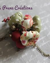 Collier mi long bronze perles textiles rouges vertes5